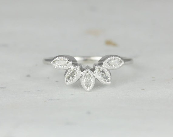 Rosados Box DIAMOND FREE Petunia 14kt White Gold Forever One Moissanite Leaves WITH Milgrain Tiara Ring