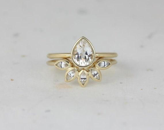 Rosados Box DIAMOND FREE Isla 7x5mm & Petunia 14kt Yellow Gold Pear White Sapphire Bezel Petal Wedding Set
