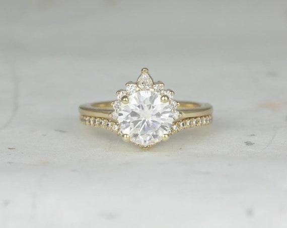 Rosados Box Kylie 8mm & Chevy 14kt Yellow Gold Round F1- Moissanite Diamonds Crescent Chevron Wedding Set
