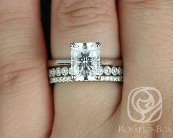 Rosados Box Skinny Nancy 9x7mm, Petite Bubbles, & Kubian 14kt White Gold Radiant Forever One Moissanite Diamonds TRIO Wedding Set