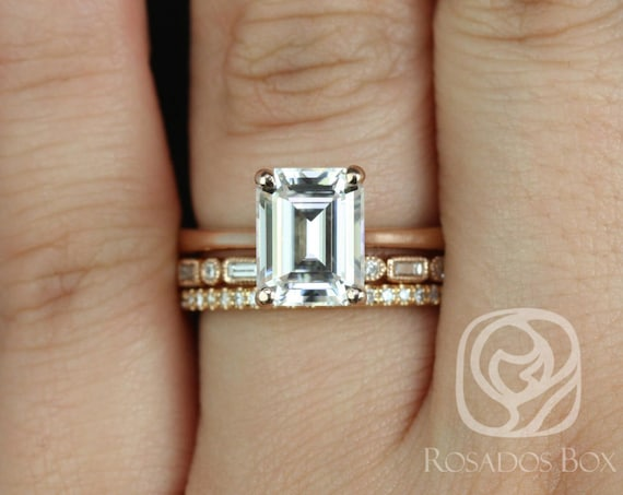 Rosados Box Skinny Norma 9x7mm, Ivanna, & Kubian 14kt Rose Gold Emerald Forever One Moissanite and Diamond TRIO Wedding Set Rings