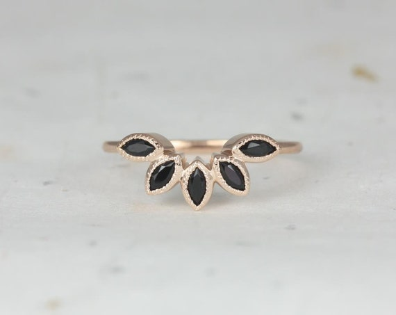 Rosados Box DIAMOND FREE Petunia 14kt Rose Gold Black Onyx Leaves WITH Milgrain Tiara Ring