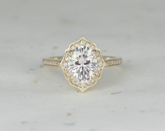 2ct Myra 9x7mm 14kt Rose Gold Oval Forever One Moissanite Diamond Art Deco Oval Halo WITHOUT Milgrain Engagement Ring,Rosados Box
