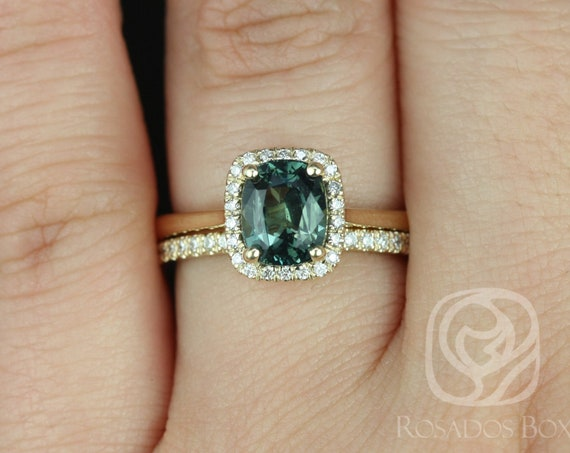 1.95ct Rectangle Cushion Chameleon Teal Sapphire Diamonds Halo Wedding Set Rings Rings, 14k Gold, Ready to Ship Delana 1.95cts, Rosados Box