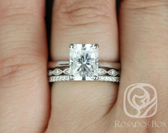 Rosados Box Skinny Nancy 9x7mm, Ultra Petite Leah, & Kubian 14kt White Gold Radiant Forever One Moissanite Diamonds TRIO Wedding Set