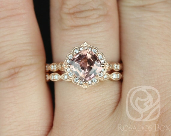 Rosados Box Ready to Ship Lucille 2.08cts & Christie 14kt Rose Gold Cushion Rustic Salmon Red Sapphire Diamond Kite Set Halo Wedding Set