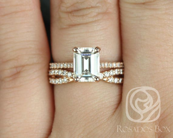 1.75ct Emerald Forever One Moissanite Diamonds Infinity X Criss Cross Wedding Set Rings Rings,14kt Rose Gold,Wilma 8x6mm & Bree,Rosados Box