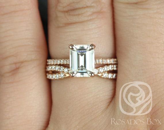 Rosados Box Wilma 8x6mm & Bree 14kt Rose Gold Emerald F1- Moissanite and Diamonds Wedding Set