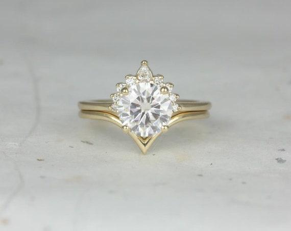 Rosados Box Kylie 8mm & Willow 14kt Yellow Gold Round F1- Moissanite Diamonds Crescent Chevron Wedding Set