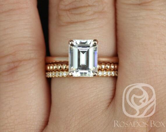 Rosados Box Skinny Norma 9x7mm, Buddha Beads, & Kubian 14kt Rose Gold Emerald Forever One Moissanite Diamond TRIO Wedding Set Rings