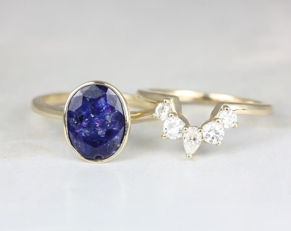 Rosados Box Ready to Ship Galaxy 4.01cts & Liza 14kt Yellow Gold Oval Blue Sapphire and Moissanite Bezel Wedding Set