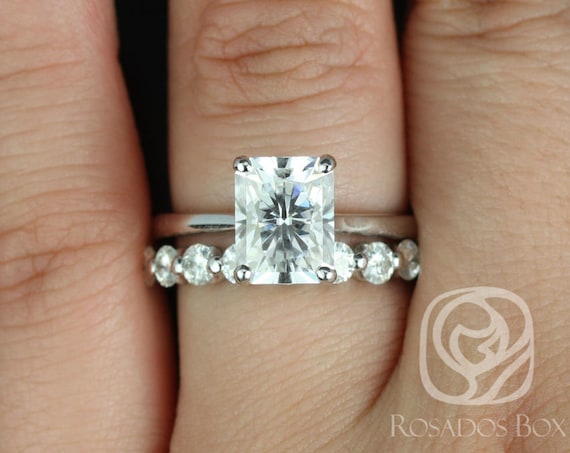 2.70ct Skinny Nancy 9x7mm & Haylie 14kt White Gold Radiant Forever One Moissanite Wedding Set Rings,Rosados Box