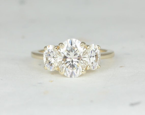 2cts Oval Forever One Moissanite Classic 3 Stone Engagement Ring, 14kt Solid Yellow Gold, Odessa 9x7mm, Rosados Box