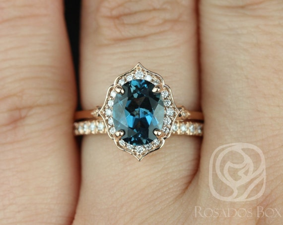 Rosados Box Mae 9x7mm & Pernella 14kt Rose Gold Oval London Blue Topaz and Diamond Halo WITHOUT Milgrain Wedding Set