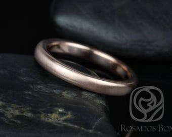 Ready to Ship Rosados Box Dax 3mm 14kt WHITE Gold Rounded Pipe Matte or High Finish Band (Chic Classics Collection)