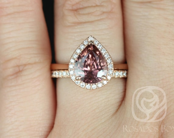 Rosados Box Ready to Ship Karma 3.56cts  & Pernella 14kt Rose Gold Wide Pear Wine Zircon and Diamond Halo Wedding Set Rings