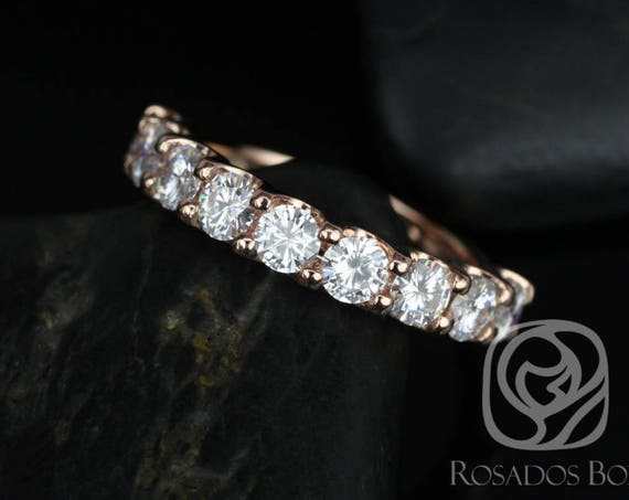 Rosados Box DIAMOND FREE Cori 3.5mm 14kt Rose Gold Round F1 Moissanite HALFWAY Eternity Band