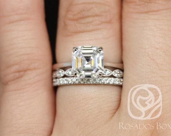 Rosados Box Skinny Denise 8mm, Christie, & Pernella  14kt White Gold Asscher F1- Moissanite and Diamonds Cathedral TRIO Wedding Set