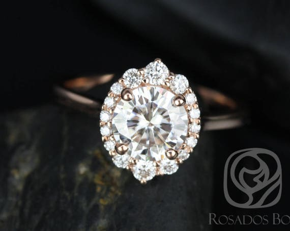 1.25ct Round Forever One Moissanite Diamonds Scalloped Graduated Unique Halo Engagement Ring,14kt Rose Gold,Eluma 7mm,Rosados Box
