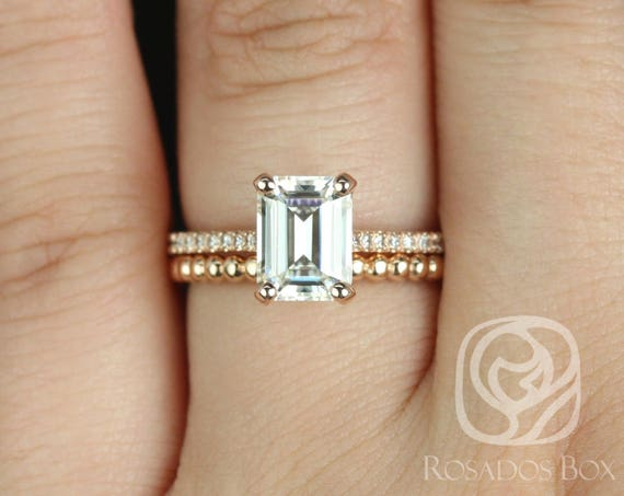 Rosados Box Wilma 8x6mm & Buddha Beads 14kt Rose Gold Emerald F1- Moissanite and Diamonds Wedding Set