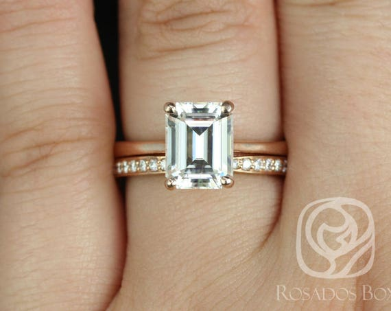 Rosados Box Skinny Norma 9x7mm & Marla 14kt Rose Gold Emerald Forever One Moissanite Diamond Cathedral Wedding Set