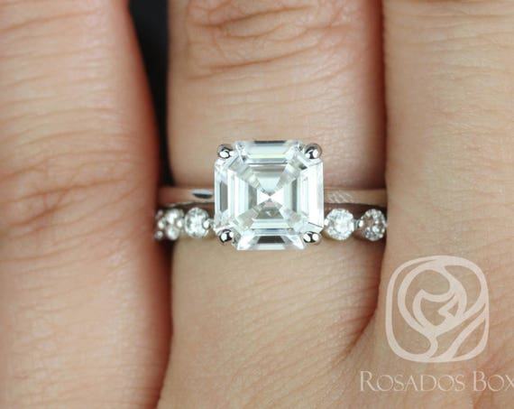 Rosados Box Skinny Denise 8mm & Medio Naomi 14kt White Gold Asscher F1- Moissanite and Diamonds Tulip Cathedral Solitaire Wedding Set