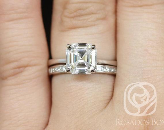 Rosados Box Skinny Denise 8mm & Charlene 14kt White Gold Asscher Forever One Moissanite Diamonds Tulip Cathedral Solitaire Wedding Set Rings