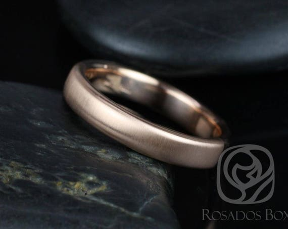 Rosados Box Dax 4mm 14kt Rose Gold Rounded Pipe Matte or High Finish Band (Chic Classics Collection)