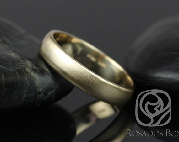 Rosados Box Ready to Ship Steve 4mm 14kt Yellow Gold Oval Plain Non-Comfort Fit Matte Finish Band (Chic Classics Collection)