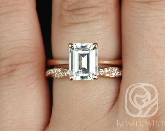 Rosados Box Skinny Norma 9x7mm & Twyla 14kt Rose Gold Emerald Forever One Moissanite Diamond Cathedral Wedding Set