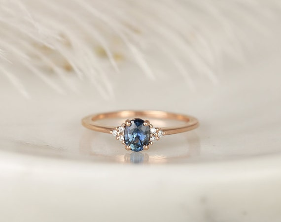 0.67ct Ready to Ship Juniper 14kt Rose Gold Ocean Blue Teal Sapphire Diamond Dainty Oval Cluster 3 Stone Ring,Rosados Box