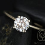 Rosados Box Skinny Alberta 6.5mm 14kt Yellow Gold Round Forever One Moissanite Tulip Solitaire Engagement Ring
