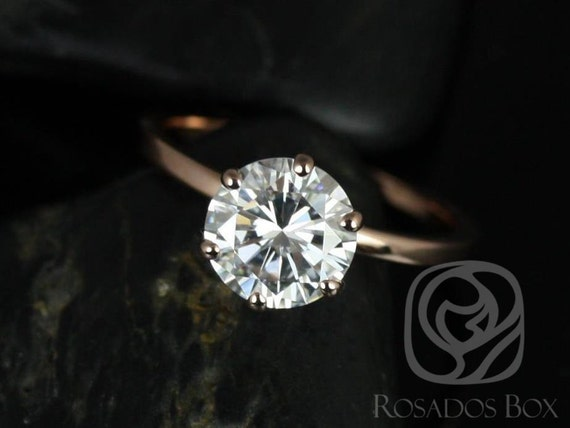 2ct Round Forever One Moissanite 6 Prong Skinny Solitaire Engagement Ring,14kt Solid Rose Gold,Elaine 8mm,Rosados Box