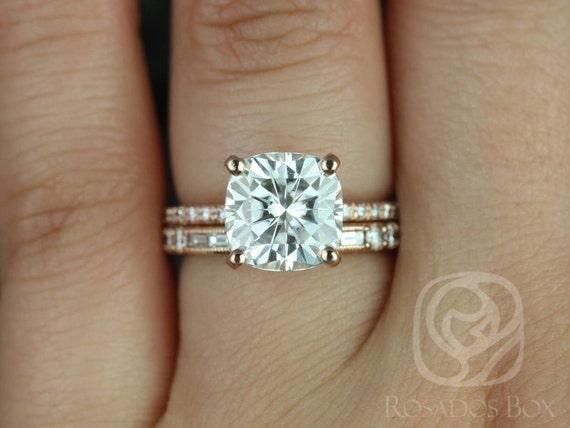 3.30ct Heidi 9mm & Gabriella 14kt Rose Gold Forever One Moissanite Diamond Art Deco Pave Halo Cushion Wedding Set Rings,Rosados Box