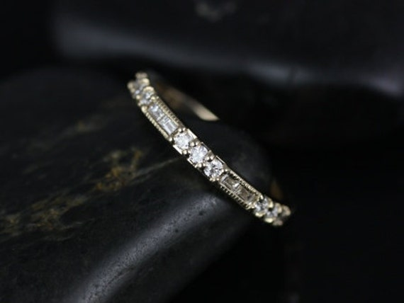 Vintage WITH Milgrain Round Baguette Diamond ALMOST Eternity Stacking Ring,14kt Gold,Gabriella,Rosados Box