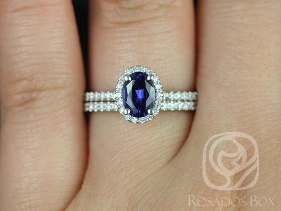 7x5mm Oval Blue Sapphire Diamonds Delicate Micro Pave Halo Classic Wedding Set Rings Rings,14kt White Gold,Federella 7x5mm,Rosados Box