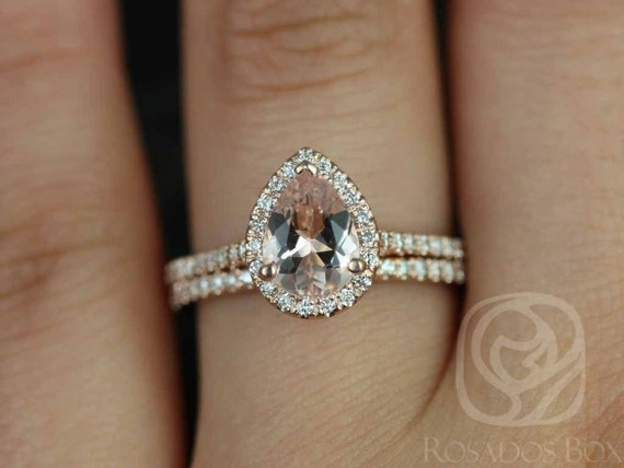 8x6mm Pear Morganite Diamonds Halo Classic Wedding Set Rings,14kt Solid Rose Gold,Tabitha 8x6mm,Rosados Box