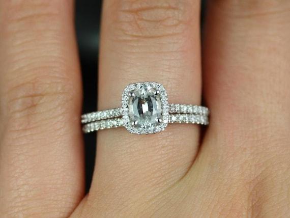 Rosados Box Romani 7x5mm 14kt White Gold White Sapphire and Diamond Cushion Halo Wedding Set