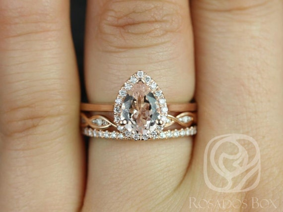Rosados Box Julie 8x6mm, Ember, & Dia Barra 14kt Rose Gold Pear Morganite Diamond Halo TRIO Wedding Set Rings