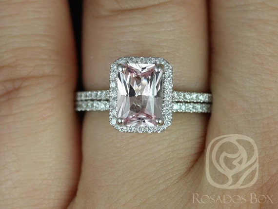Rosados Box Ready to Ship Lisette 1.68cts 14kt White Gold Radiant Peach Blush Sapphire and Diamond Classic Wedding Set Rings