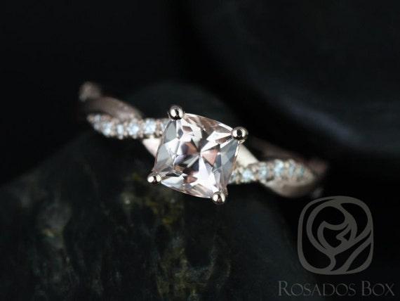 6mm Cushion Morganite Diamond Twisted Vine Engagement Ring,14kt Solid Rose Gold,Tressa 6mm,Rosados Box