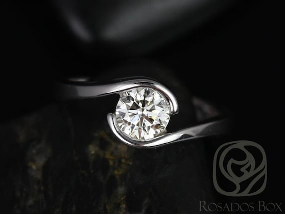 Ready to Ship Rosados Box Vadim 6mm 14kt White Gold Single Twist F1- Moissanite Engagement Ring