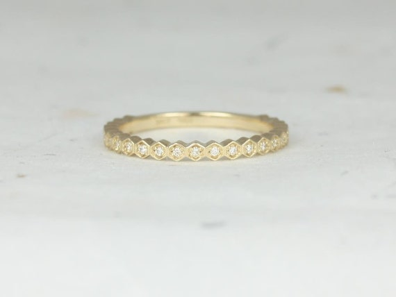 Rosados Box Ultra Petite Honore 14kt Yellow Gold Vintage WITHOUT Milgrain Diamond ALMOST Eternity Band