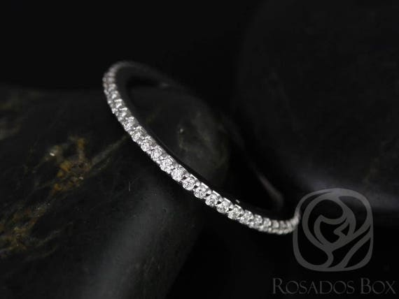 Rosados Box Ready to Ship 14kt White Gold Matching Band to Marcelle/Blake Prong Set Diamonds FULL Eternity Band
