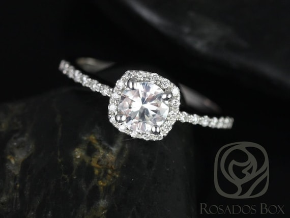 Rosados Box Barra 5mm 14kt White Gold Round White Sapphire and Diamond Cushion Halo Engagement Ring