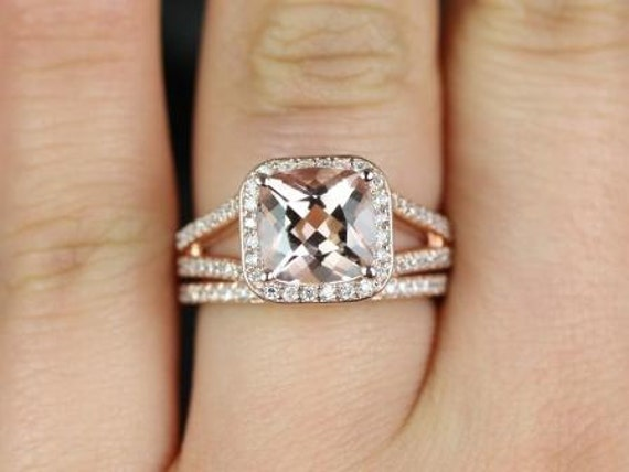 Rosados Box Diana 8mm 14kt Rose Gold Cushion Morganite and Diamond Halo Split Shank Wedding Set