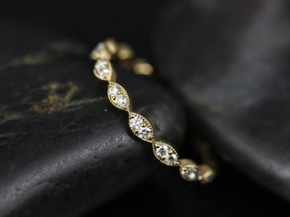 Rosados Box Leah 14kt Yellow Gold  Extra Low Profile Leaves Diamonds FULL Eternity Band