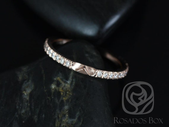 14kt Solid Rose Gold Thin Diamond Micropave Glitter Pave Matching Band to EXTRA LOW Chantelle ALMOST Eternity Ring,Rosados Box