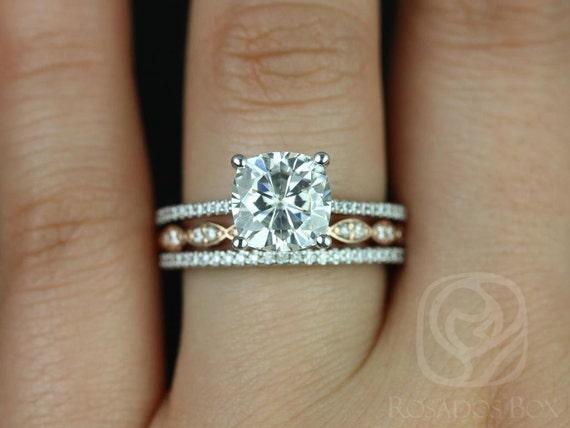 Rosados Box Marcelle 8mm & Christie 14kt Rose/White Gold Cushion F1- Moissanite and Diamonds TRIO Wedding Set
