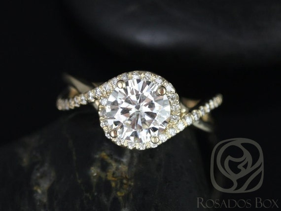 Rosados Box Maritza 7mm 14kt Yellow Gold Round Forever One Moissanite Diamonds Halo Twist Engagement Ring